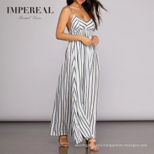 Summer Cotton Sexy Elastic Waist New Design Fancy Ladies Stripe Dress