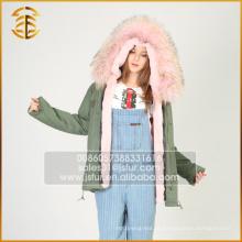 Европейский стиль моды пальто реального енота съемный мех Parka