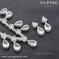 63938 Xuping hermoso conjunto de joyas de lujo color plateado rodio nupcial conjunto de joyas