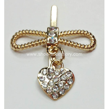 Versatile Alloy Rhinestone Buckle for Clothes, Shoes,Bags,Garments; Bowknot Metal Accessories with Heart-Design Pendant