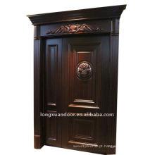 Porta de madeira maciça composta e porta de contraplacado