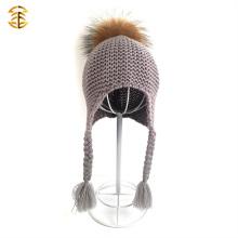 2017 Großhandel bunte Häkelwolle Hut Pom Pom Hüte für Baby