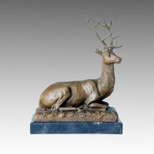 Бронзовая скульптура оленя животных Резьба по дереву Декоративная латунь Tpal-111