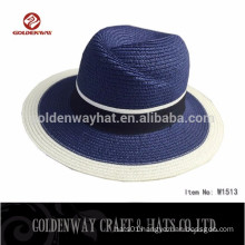 Blue Panama hats with band For Sale