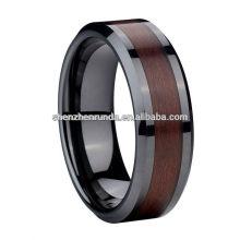 8mm Comfort Fit Schwarzer Keramik Ring mit Holz Ring Hersteller