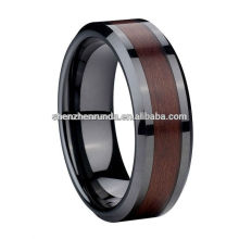 8mm Comfort Fit Black Ceramic Ring With Wood Ring Manufacturer