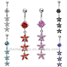 Zircon crystal navel button jewelry Body Jewelry Navel Ring BER-010