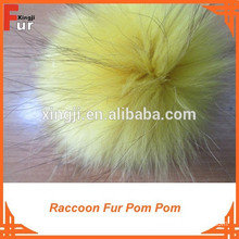 Fur Pompon Real raccoon fur with press stud