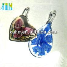 boro clareza flor vidro colar mão soprado vidro jóias