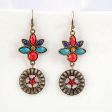 Colorful Resin Stone with Diamond Pendant Earrings