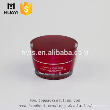 Frasco de creme plástico do recipiente cosmético acrílico vazio vermelho de 50ml com tampa