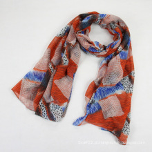 Senhora Multicolor Polyester Voile Geometry Scarf Shawl