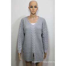 Pull en maille tricoté acrylique Lady Fashion dans la conception de torsion (YKY2003)