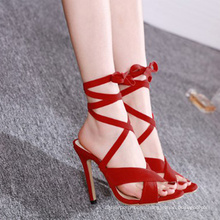 Supper high heeled Black red suede 2020  simple strappy summer sexy women's sandals