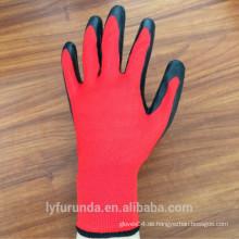 13 Gauge Nylon Handschuhe mit Latex auf Palme, Falten Ende beschichtet