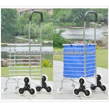 Alumínio dobrável carro trole da mão viagem bagagem com rodas, dobradura dobrável armazenamento carrinho carrinho de compras caixa