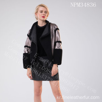 짧은 스페인 Merino Shearling Jacket For Lady