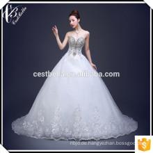 Hochwertiges Tulle-Kristallperlen-Schatz Alibaba-Hochzeits-Kleid 2017 starkes wulstiges Hochzeits-Kleid