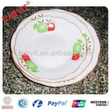 Linyi barata de corte de porcelana borde blanco platos platos redondos con tres patrón de flores y borde de plata