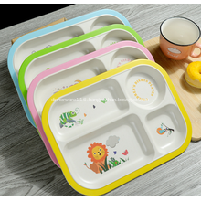 Bamboo Fiber Plastic Kids Dish Plate