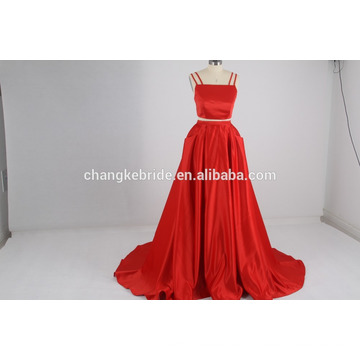 Venta al por mayor vestido de noche de dos piezas vestido de noche rojo largo vestido de baile