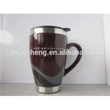 2015 mejores ventas alta calidad doble pared cerámica taza de café con asa libre de BPA