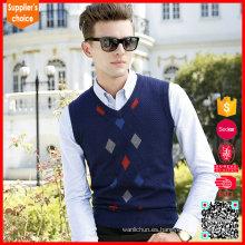 Patrón del diamante del chaleco del suéter de los hombres vendedores calientes que refresca el suéter sin mangas