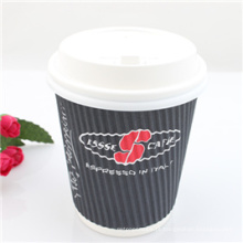 Copo de papel de café barato descartável com tampa PS