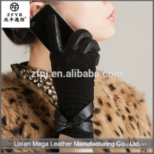 Neue Design Mode niedrigen Preis Pelz Trim Leder Handschuhe