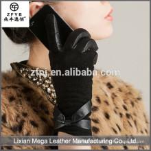 Novo design de moda de baixo preço Pele Guarnição Luvas de Couro
