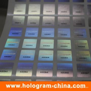 Numéro de série personnalisé 3D Laser Hologram Sticker
