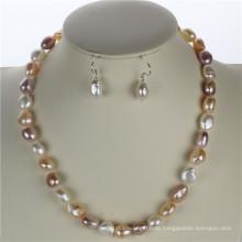 Snh 10mm AAA gemischte Farbe natürliche echte Perle Schmuck Set