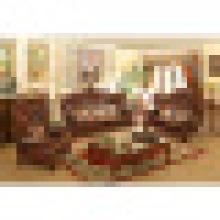 Мебель для гостиной с деревянными кожаными диванами (529)