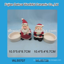 High quality ceramic Christmas candle holder with Santa design