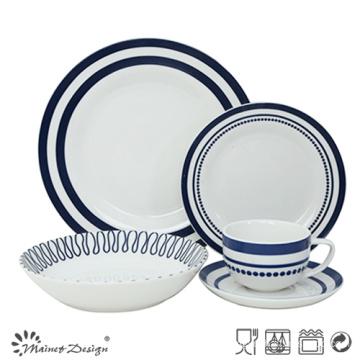 30PCS Porcelain Dinner Set with Geometrical Decal Design