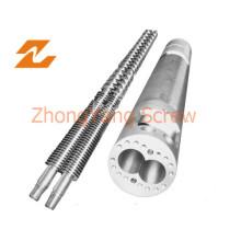Doble tornillo cilindro en paralelo para la extrusión de la pipa del PVC