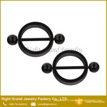 Titane noir en acier chirurgical plaqué cercle forme boule anneaux de mamelon