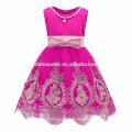 2017 neue Mode Billig Reine Farbe Bestickt Tüll 8 Jahre Mädchen Kleid Design