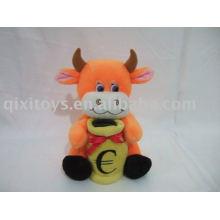 peluche en peluche belle vache money savingbox, jouet de banque de pièces d'animal doux