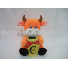 dinheiro de vaca encantador recheado de pelúcia savingbox, soft animal coin bank toy