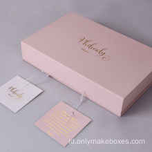 High-End Packaging Paper Hair Extension Box Dengan Tag