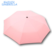 Dama hermosa color pequeño logotipo personalizado fresco a prueba de viento viajes mano de moda de alta calidad abierto 3 paraguas plegable plegable para niñas