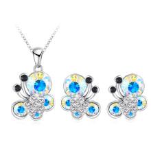 Дешевые Кристалл бабочки ювелирные наборы 7colors (PCST0003-B)