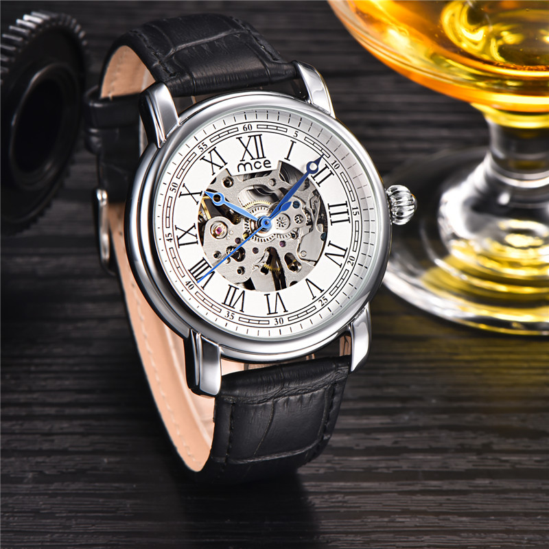 oem leather bands automatic movement mechanical watch