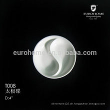 T008 ChaoZhou Restaurant Geschirr Divided Porzellan Soja Dish 80mm