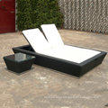 Two Seaters Outdoor Sun Beach Lounge Chair Rattan Garden Loungers