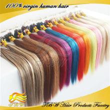 Extensões de cabelo em linha reta anel micro brasileiro cabelo virgem azul, rosa roxo verde vermelho # 613 disponível