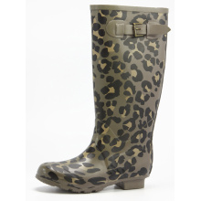 Rubber Rain Boots With Fashion Leopard Printing