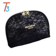 Promotional Travel Pouch Bag black Makeup Bag Golden zipper PU Cosmetic Bag for Ladies