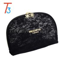 Sac de maquillage promotionnel sac de maquillage noir sac sac cosmétique d'unité centrale de tirette d'or pour des dames
